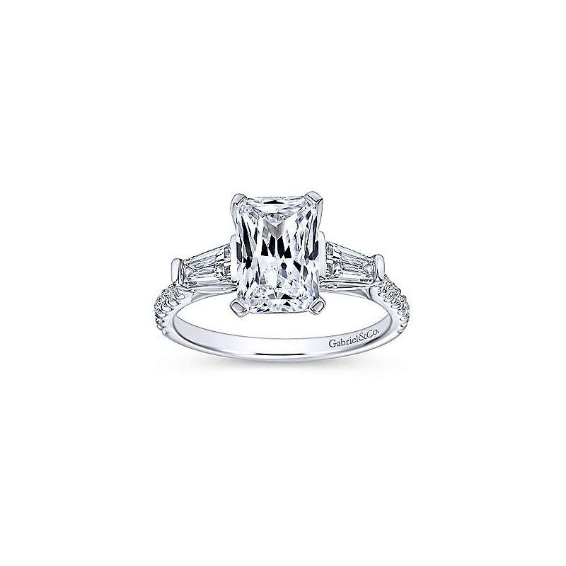 Gabriel NY 14k White Gold Emerald Cut Engagement Ring with Baguettes and Rounds by Gabriel NY