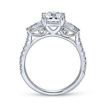 14k White Gold Emerald Cut Engagement Ring with Baguettes and Rounds by Gabriel NY