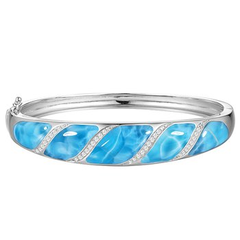 Sterling Silver Bangle Bracelet with Angled Inlaid Larimar