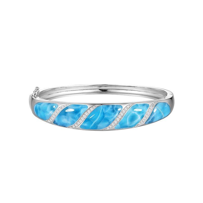 Alamea Larimar  Sterling Silver Bangle Bracelet with Angled Inlaid Larimar