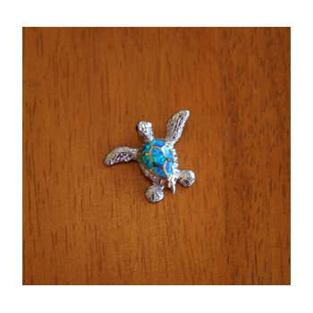 Sterling Silver and 18k Gold Plate Sea Turtle Pendant with Kyocera Lab Created Synthetic Opal.