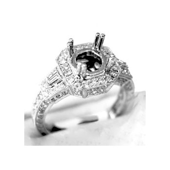 18k White Gold Diamond Engagement Ring Mounting - 37583