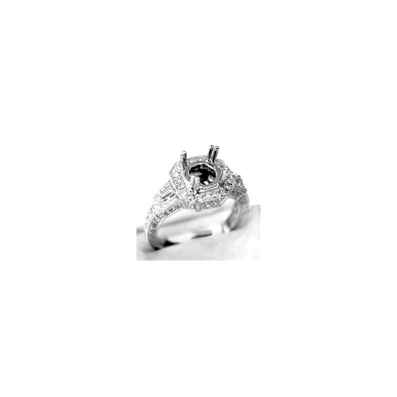 Signature Collection 18k White Gold Diamond Engagement Ring Mounting - 37583