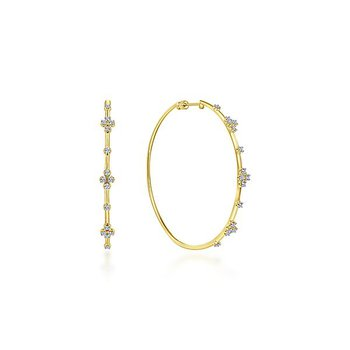 14k Yellow Gold 60mm Diamond Hoops