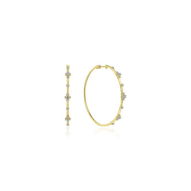 Signature Collection 14k Yellow Gold 60mm Diamond Hoops