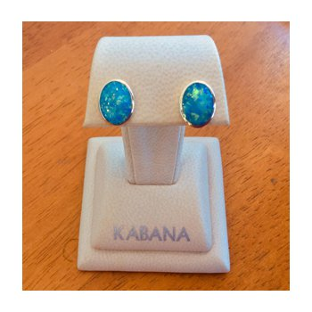 14k Yellow Gold Kabana Australian Opal Inlay Stud Earrings
