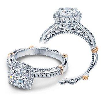 Verragio Parisian-119CU - 14k White and Rose Gold Diamond Halo Engagement Ring by Verragio