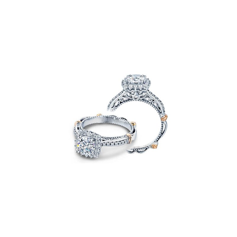 Verragio Verragio Parisian-119CU - 14k White and Rose Gold Diamond Halo Engagement Ring by Verragio