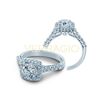 Verragio Classic V-903-CU7 - 14k White Gold Cushion Halo Diamond Engagement Ring by Verragio