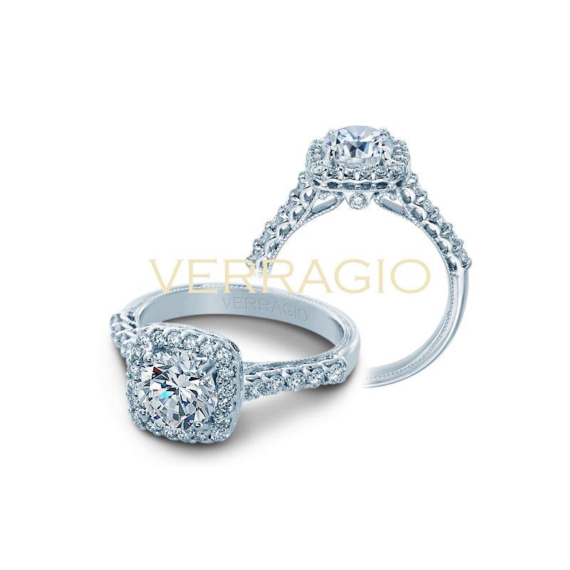 Verragio Verragio Classic V-903-CU7 - 14k White Gold Cushion Halo Diamond Engagement Ring by Verragio