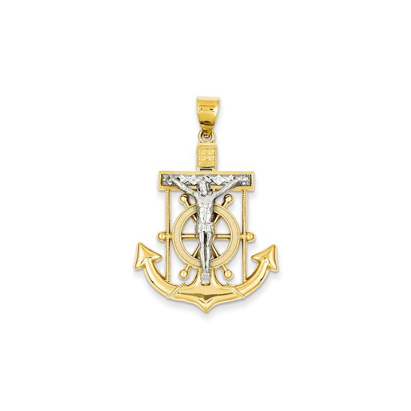 Crosses, Religious & Symbolic Jewelry 14k White and Yellow Gold Diamond-cut Mariner's Cross Pendant