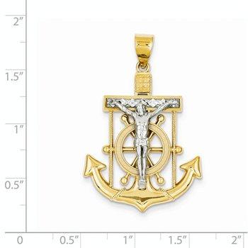 14k White and Yellow Gold Diamond-cut Mariner's Cross Pendant