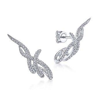 14k White Gold J Curve Diamond Earrings by Gabriel NY, Style #EG13638W
