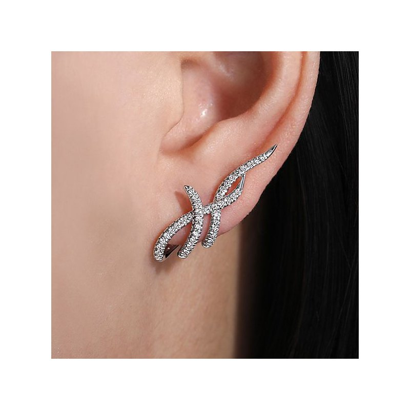 Signature Collection 14k White Gold J Curve Diamond Earrings by Gabriel NY, Style #EG13638W