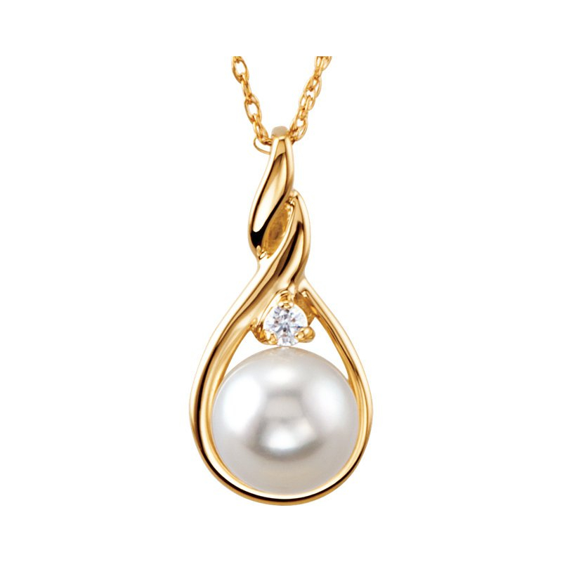 Signature Collection From the Pearl Collection 14k Yellow Gold 7mm Akoya Pearl and Diamond Swirl Pendant