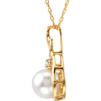 From the Pearl Collection 14k Yellow Gold 7mm Akoya Pearl and Diamond Swirl Pendant