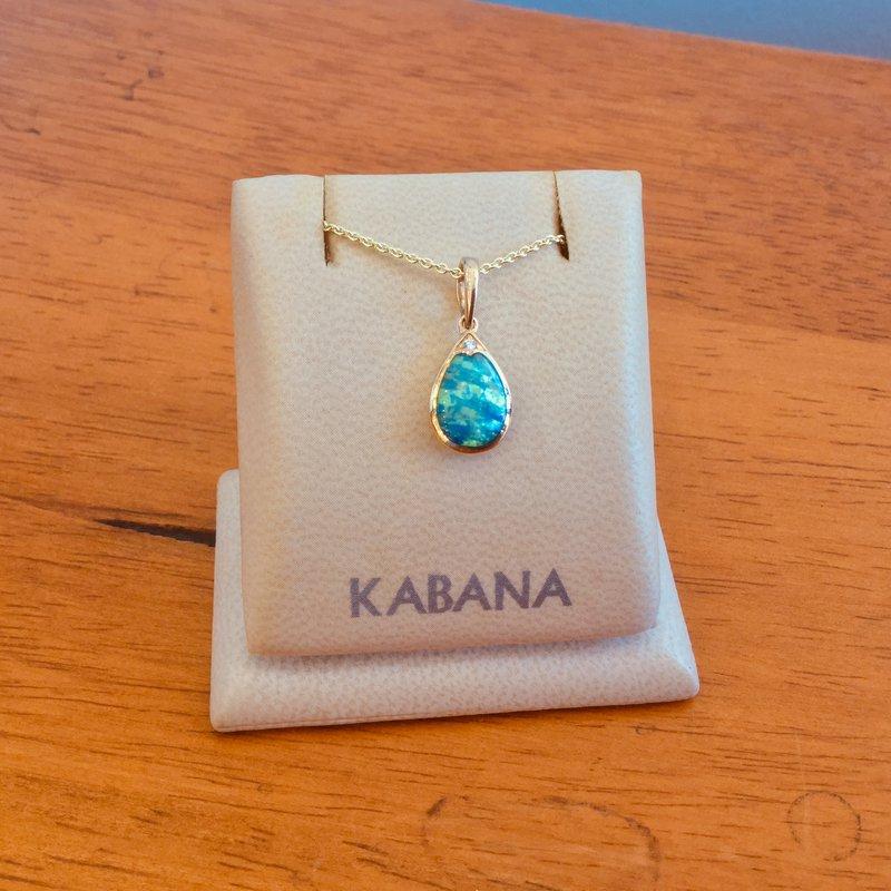 Kabana Jewelry Kabana Australian Opal and Diamond Pear Shaped Pendant