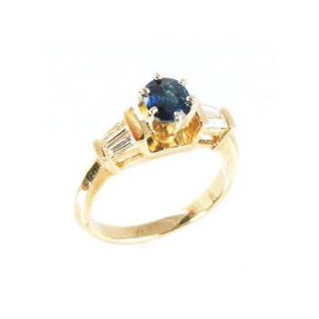 Genuine Blue Sapphire and Diamond Ring in 14k Yellow Gold - 12170