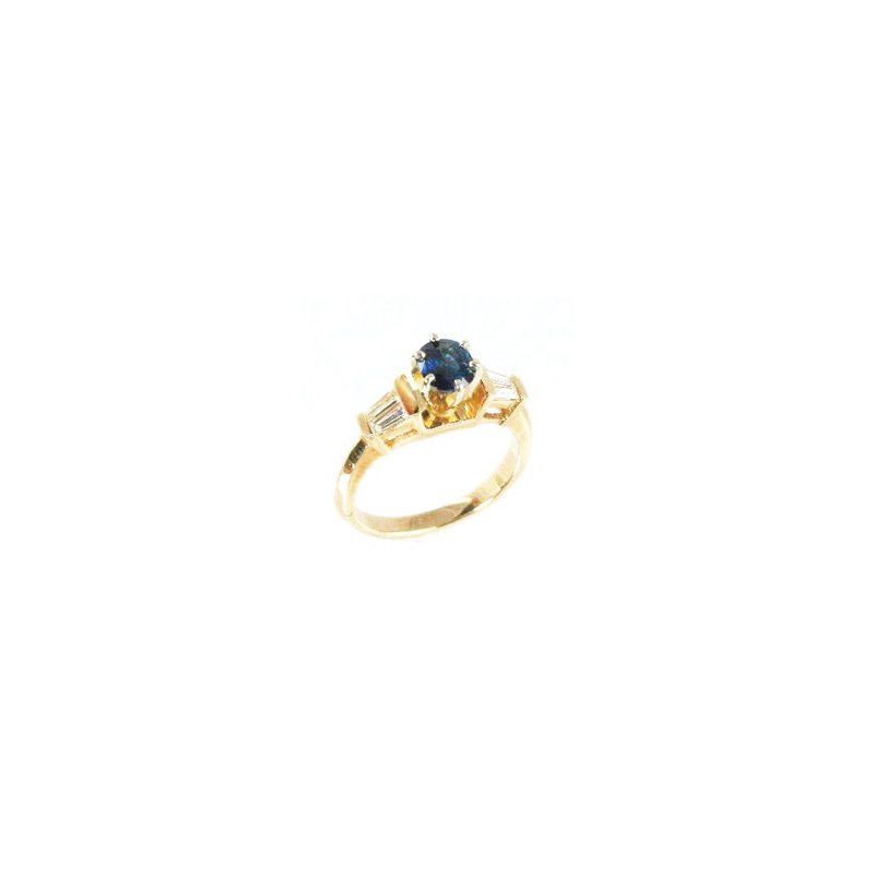 Signature Collection Genuine Blue Sapphire and Diamond Ring in 14k Yellow Gold - 12170