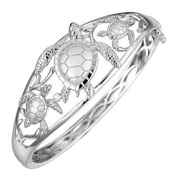 Sterling Silver Textured Turtle Hinged Bangle Bracelet