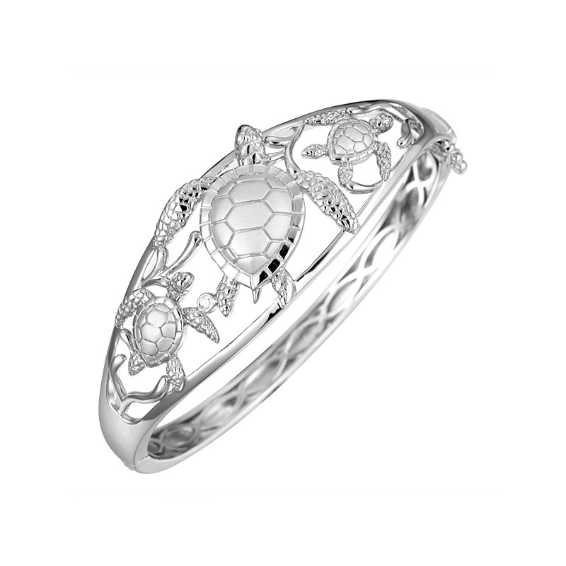 Alamea Larimar  Sterling Silver Textured Turtle Hinged Bangle Bracelet