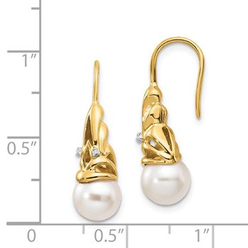 From the Pearl Collection 14k Yellow Gold Freshwater 7-8mm Pearl Dangle Earrings