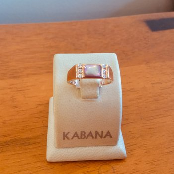 Pink Mother of Pearl Inlay & Diamond Ring in 14k Rose Gold