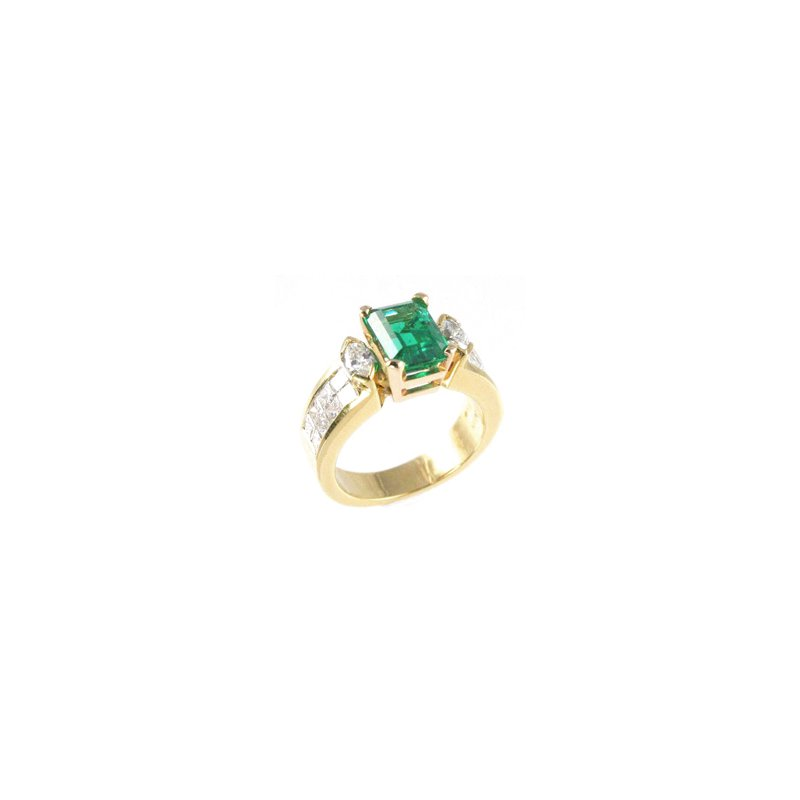 Signature Collection Genuine Emerald and Diamond Ring in 18k Yellow Gold - 23288
