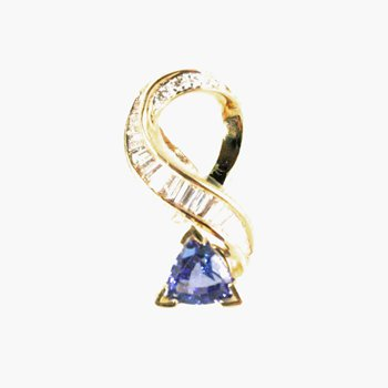 Genuine Tanzanite and Diamond Pendant in 18k Yellow Gold