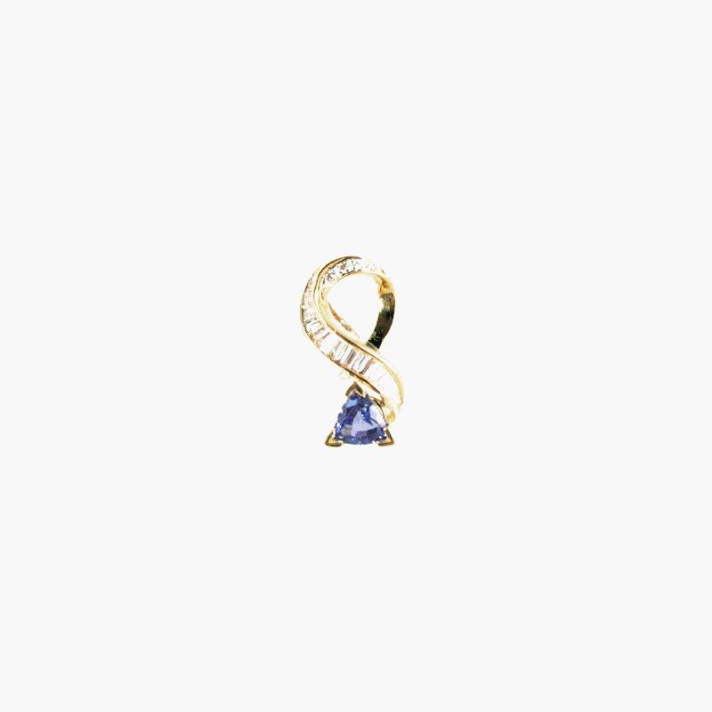 Signature Collection Genuine Tanzanite and Diamond Pendant in 18k Yellow Gold