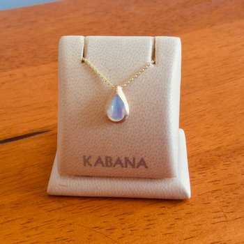 14k Yellow Gold White Mother of Pearl Teardrop Pendant
