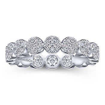 14k White Gold Circle Diamond Eternity Ring by Gabriel NY - Style # LR51478E