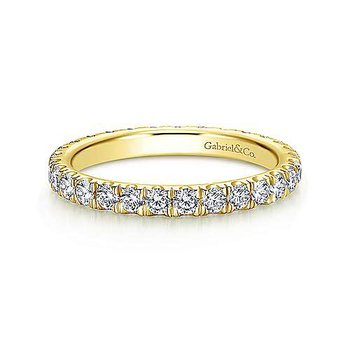 14k Yellow Gold French Pave' Set Diamond Eternity Band Anniversary Ring by Gabriel NY