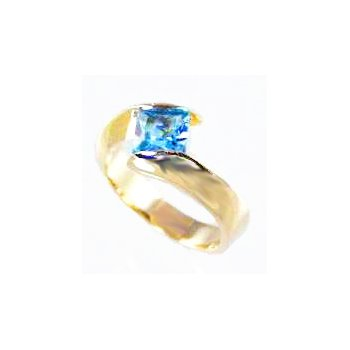 Genuine Blue Topaz Ring in 14k Yellow Gold