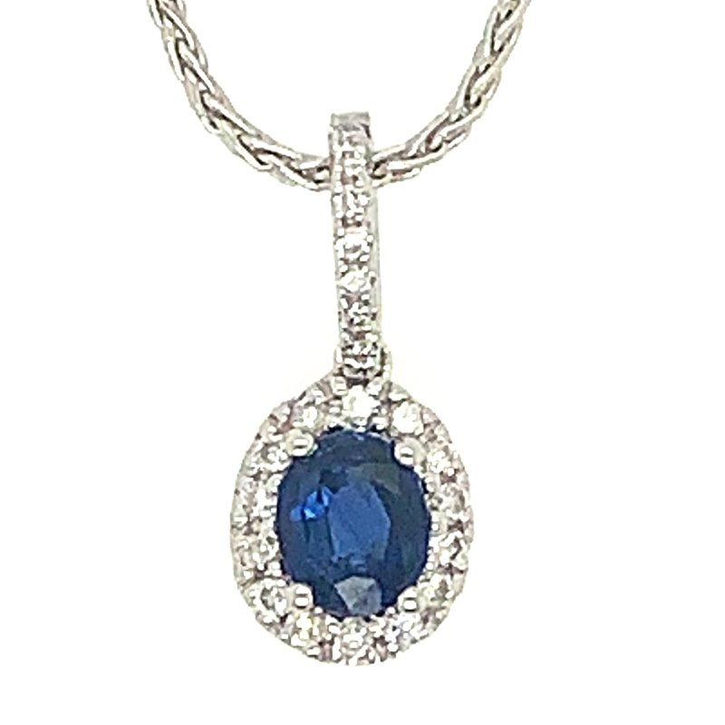 Signature Collection 14k White Gold Oval Sapphire and Diamond Pendant