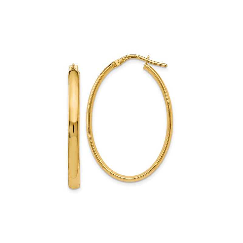 Signature Collection 14k Yellow Gold Oval Hoop Earrings