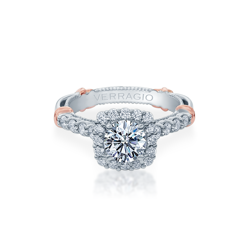 Verragio Verragio Parisian D-150CU - 14k White and Rose Gold Cushion Halo Vintage Style Engagement Ring