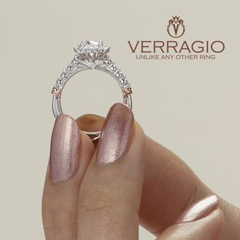 Verragio Parisian D-150CU - 14k White and Rose Gold Cushion Halo Vintage Style Engagement Ring