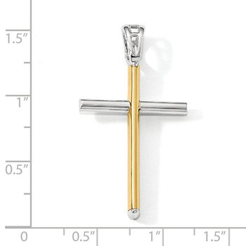 14k Yellow and White Gold Contemporary Cross Pendant