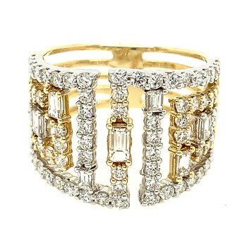 14k Yellow Gold Geometric Baguette and Round Diamond Ring
