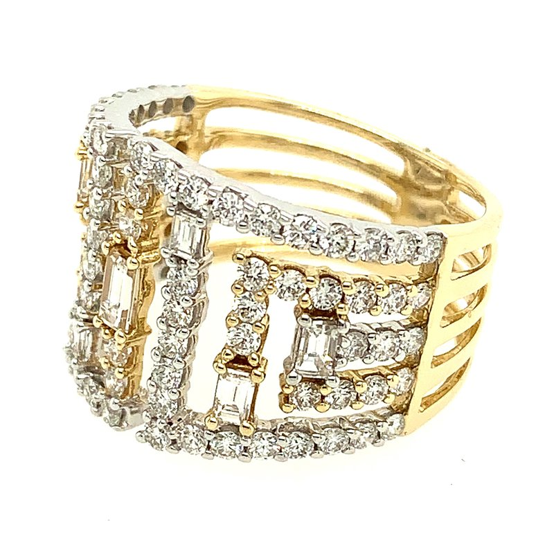 Signature Collection 14k Yellow Gold Geometric Baguette and Round Diamond Ring