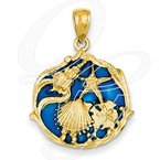 Sealife Jewelry Quality Collection Sealife 14k Yellow Gold Blue Stained Glass Shell Cluster Pendant