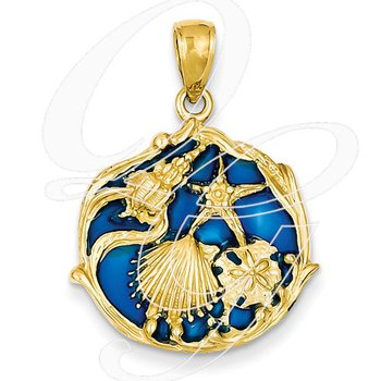 Quality Collection Sealife 14k Yellow Gold Blue Stained Glass Shell Cluster Pendant