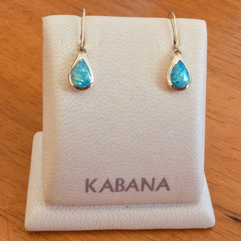 Kabana 14k Yellow Gold Dangle Earrings with 5 Star Solid Australian Opal Inlay