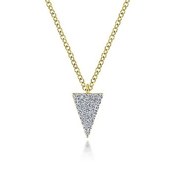 14k Yellow Gold Diamond Triangle Necklace by Gabriel NY
