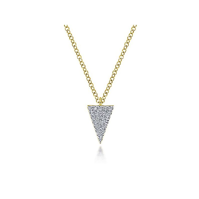 Signature Collection 14k Yellow Gold Diamond Triangle Necklace by Gabriel NY