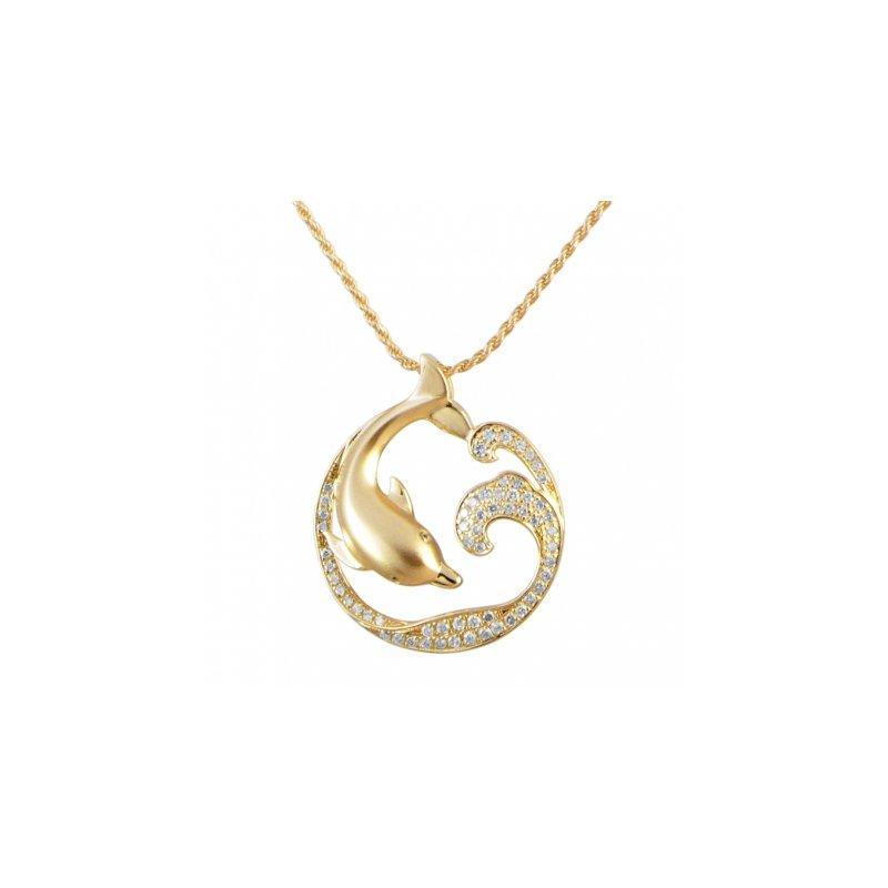 Sealife Jewelry Alamea 14k Yellow Gold Playful Diamond Dolphin Pendant