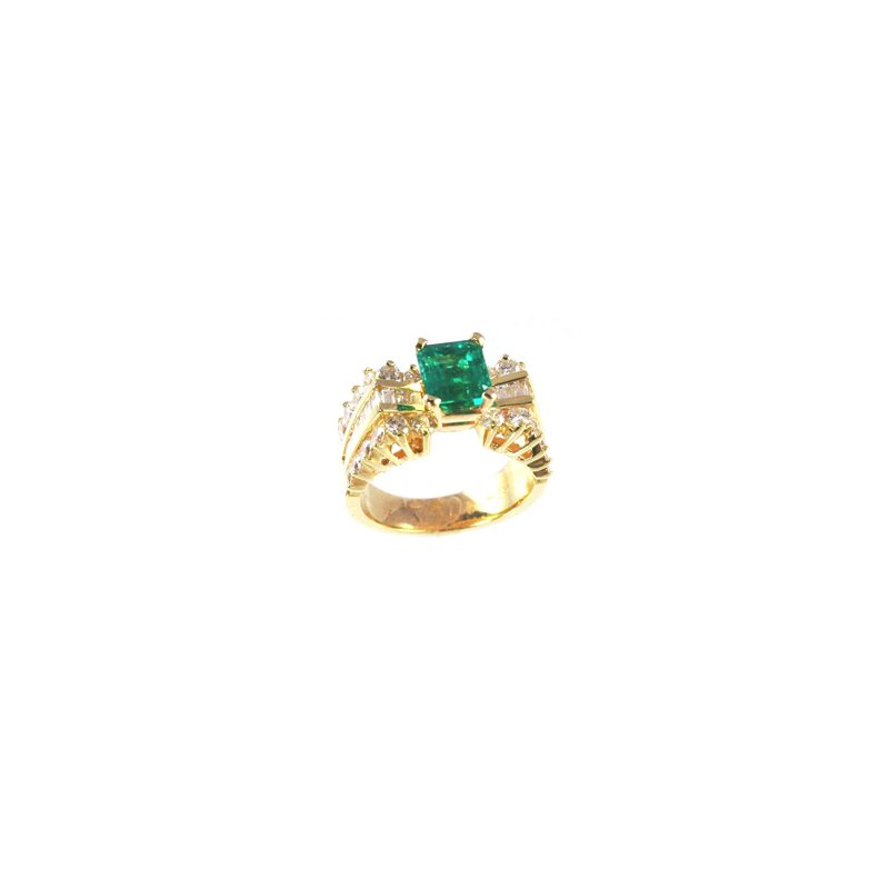 Signature Collection Genuine Emerald and Diamond Ring in 14k Yellow Gold - 5324