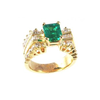 Genuine Emerald and Diamond Ring in 14k Yellow Gold - 5324