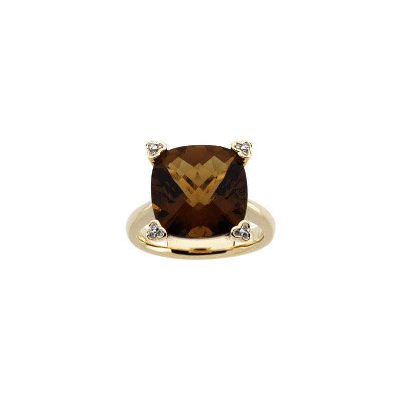 Signature Collection Genuine Checkerboard Cinnamon Quartz & Diamond Ring